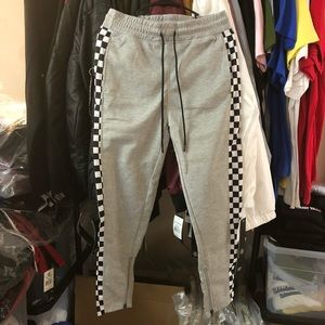 Checkered Track Pants - Grey
